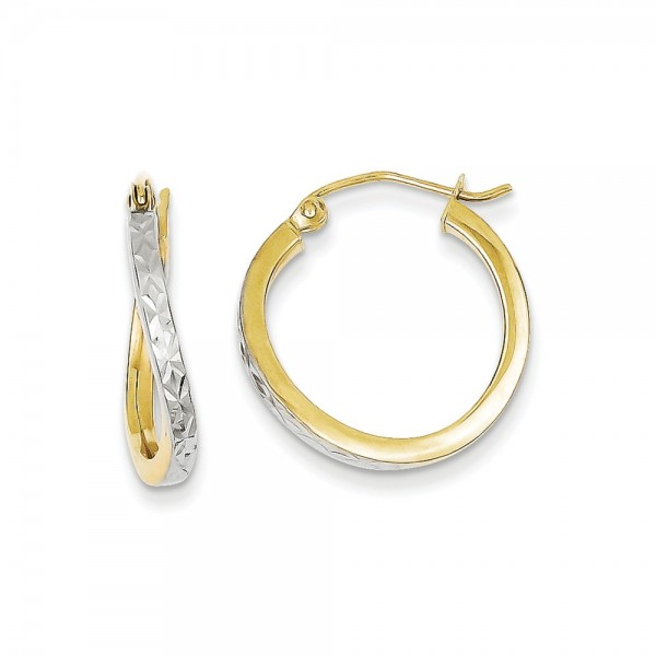 10K Yellow Gold and Rhodium and Rhodium Diamond-Cut Textured and Wavy Hoop Earrings